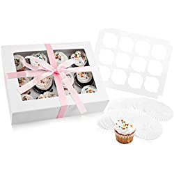 Bakery Cupcake Boxes and Cake Carrier: 12 Treat Holder Storage Boxes - Disposable Bakery Box with Clear Window, 12 Removable Inserts/Holders for a Dozen Cupcakes, 50 Cup Cake Baking Cups and Ribbon