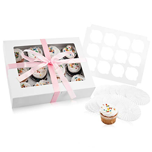 Bakery Cupcake Boxes and Cake Carrier: 12 Treat Holder Storage Boxes - Disposable Bakery Box with Clear Window, 12 Removable Inserts/Holders for a Dozen Cupcakes, 144 Cup Cake Baking Cups and Ribbon -