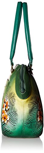 Anuschka Hand Painted Leather Large Wide Satchel, Passionate Peacocks by ANUSCHKA (Image #3)