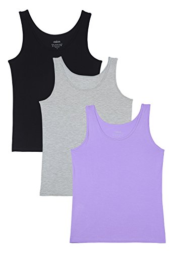 Wide Strap Jersey Tank Top - Vislivin Womens Supersoft Camisole Stretch Casual Tank Tops Black/Gray/Purple L