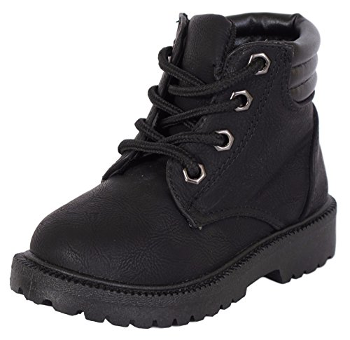 [Rugged Bear Boys Lace Up Work Boot Black 11] (Black Kids Boots)
