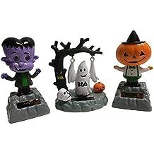 Solar Powered Bundle Set of 3 Dancing Moving Halloween Figures: Pumpkin Head Creature, Swinging Ghost, Frankenstein Monster