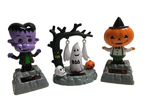 Solar Powered Bundle Set of 3 Dancing Moving Halloween Figures: Pumpkin Head Creature, Swinging Ghost, Frankenstein Monster ()