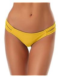 SHEKINI Mujeres Cheeky Bikini Bottoms Strappy Low Rise Tanga brasileña Swim Shorts