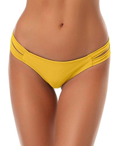 SHEKINI Cheeky Bikini Bottoms Strappy Low Rise Brazilian Thong Swim Shorts for Women (X-Large/(US 16-18), Lily Yellow)