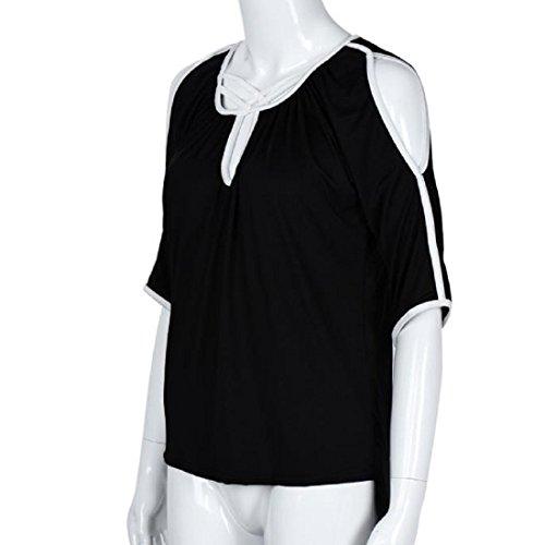 Tongshi Las mujeres flojo irregular del hombro de la blusa de manga larga T remata la blusa Negro