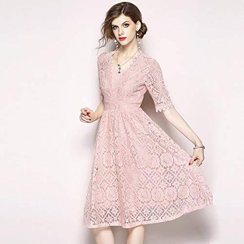 Rose QUNLIANYI Robes Paillettes Dentelle Robe Femmes élégant Parti Petit Noir Mid Robes Maille Rose V Cou Haute Qualité Casual XL