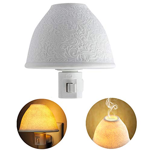 Night Lights Plug in, Kimfly Ceramic Art Night Light Wall Night Light with Essential Oil Aromatherapy Furnace and Incandescent Bulb, Suit for Bedroom, Living Room, Hallway