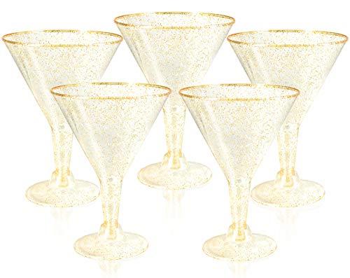 Liacere 24 Pack Gold Glitter Plastic Martini Glasses – 6.25oz Disposable Cocktail Glasses – Plastic Margarita Glasses…