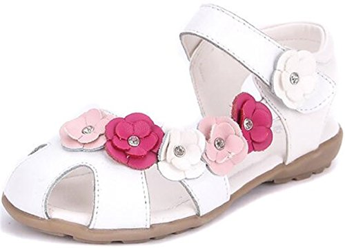 PPXID Little Girl's Soft Leather Sandal Flowers Princess Oxford Shoes-White 10 US Toddler ()