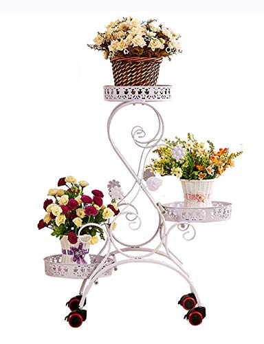(AMour Light Wrought Iron Plant Frame Wrought Iron Flower Pot Rack Flower Stand Layered Plant Display Stand Indoor and Outdoor (White))