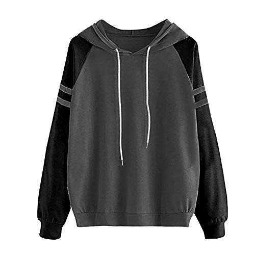 2 Hoodie Rayures Casual Hiver Automne Sweat Tops Shirt Sport Gris Couture Femme Manches Color Chapeau xCqnfa0wZt