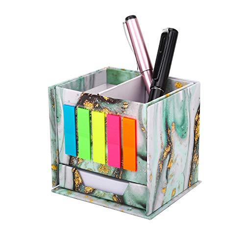 MoKo Organizador Escritorio para Lapiz, Almacenamiento de Escritorio con Marcadores de Pagina Nota Adhesiva, Caja Plegable de Pluma para Hogar de Oficina - Marmol Verde