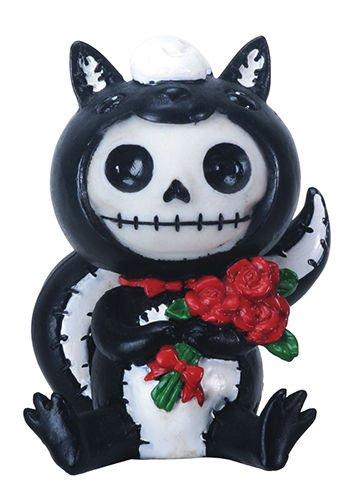 Valentines Odo The Skunk Red Roses Skeleton Monster Ornament Figurine -