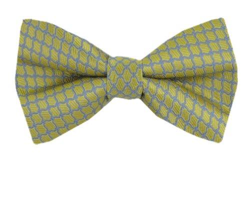 PBT-10451 - Yellow - Gray - Mens Silk Pre Tied Bow Tie