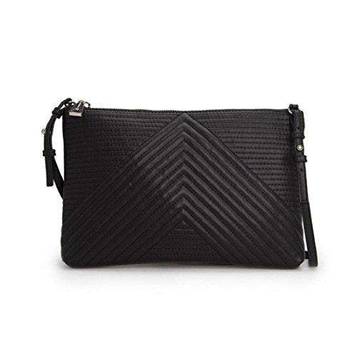 Tongshi Bolsos de cuero hombro mujeres bolso pequeño mensajero del bolso de embrague negro