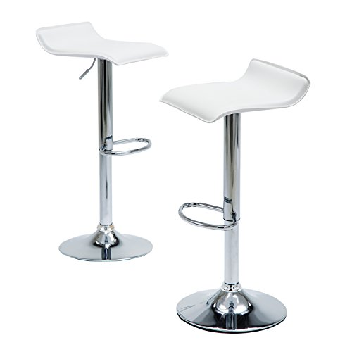 Modern Kitchen Chairs Counter Height, White PU Leather Chrome Finish Bar Stools, Set 0f 2 Adjustable Swivel Barstools