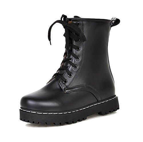 AgeeMi Shoes Mujer Puntera Cerrada Cordones Mini Tacón PU Tacón Grueso Boots Negro