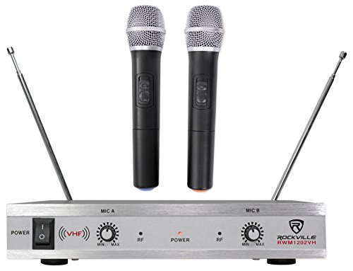 Vhf Microphone Receiver - Rockville RWM1202VH VHF Wireless Dual HandHeld Microphone System/Metal Receiver