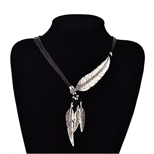 (Womens Pendant Necklaces, FTXJ Fashion Bohemian Style Rope Chain Feather Pattern Necklace (Silver))