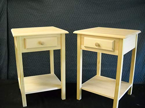 - Set of 2 unfinished Beveled edge Pine End Table, Night Stand w/shelf