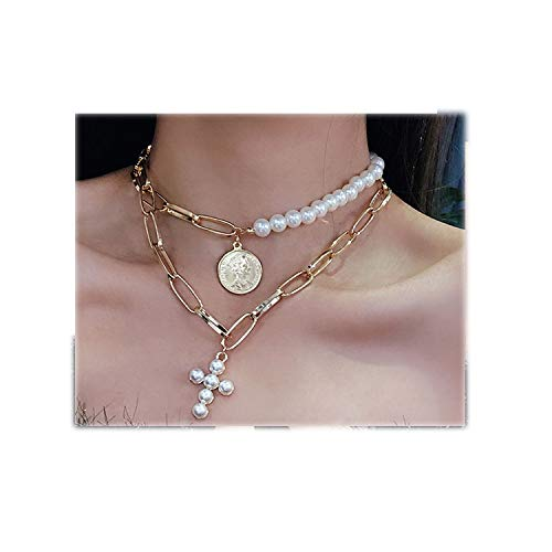 Phiten Necklace Braid - ihuoshang Luxury Imitation Pearls Choker Necklace Women Cross Pendant Necklaces for Women Gold Coin Jewelry,Gold