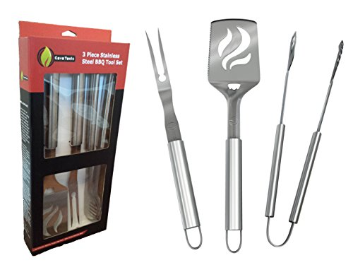 BBQ Grill Tools Set - Heavy Duty 20% Thicker Stainless Steel - Professional Grade Barbecue Accessories - 3 Piece Utensils Kit Includes Spatula Tongs & Fork by Cave Tools (Bbq Pit Boys Barbecue Grilling compare prices)