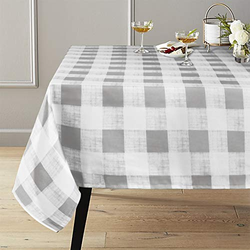 (Lahome Checkered Tablecloth - Spillproof Water Resistant Polyester Plaid Tablecloth Table Cover for Kitchen Dining Room Restaurant Party Picnic Decoration (Gray, Rectangle - 60