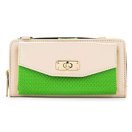 Cream and Lime Womens Venice Wallet Case for Kyocera Hydro Life, Icon, Vibe