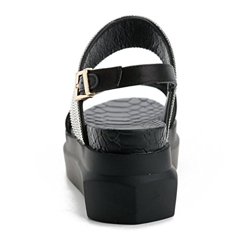 Dress Platform JULY Buckle Comfy Sandals for Sparkle Open Students Glitter with Toe Slip T on Walking Girls Wedge Black waXvSqq