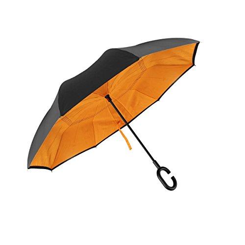 QS Team Double Layer Inverted Umbrellas Reverse Folding Umbrella Windproof UV Protection Big Straight Umbrella for Car Rain Outdoor Travel Umbrella with C-Shaped Handle and Carrying Bag (Orange)
