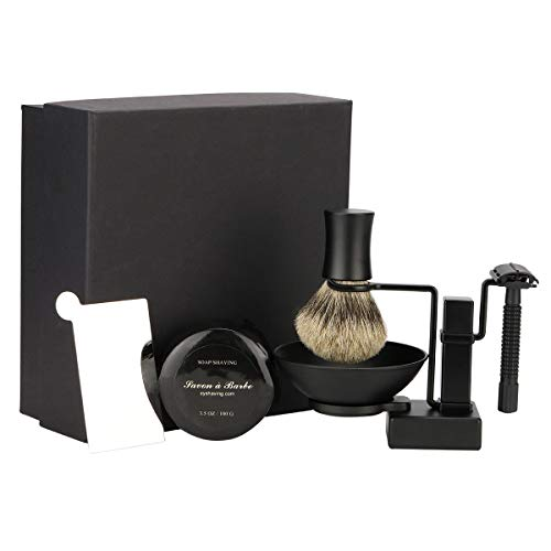 7 Piece Matte Black Shaving & Grooming Sets - Shaving Stand,Butterfly Open Razor,Shaving Brush,Shaving Bowls,Shaving Soap,Unbreakable Mirror and 10 Replacement Blades,Comes with Gift Box