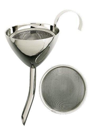 6 Inch Silver Plated Stainless Steel Wine Funnel with Filter Screen Franmara 9316