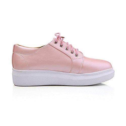 Amoonyfashion Donna Tinta Unita In Materiale Morbido Tacco Basso Stringate Tacco A Spillo Scarpe-scarpe Rosa