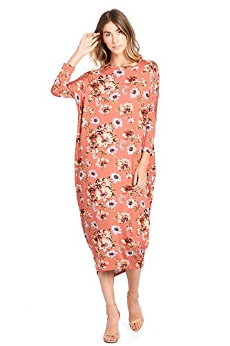 12 Ami Solid Long Sleeve Cover-Up Maxi Dress Rust Floral 2X