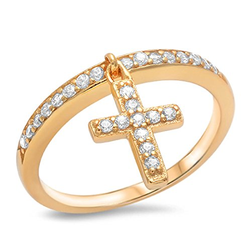 Petite Dangling Accent Cross Ring Round Cubic Zirconia Yellow Gold Over Plated 925 Sterling Silver Size 9