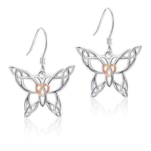 MANBU 925 Sterling Silver Celtic Butterfly Rose Gold Heart Earrings Jewelry Girls Women Ladies