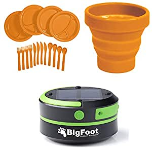 Bigfoot Outdoor Products Compact Solar Camping Lantern (1-Pack Green Lantern + UST FlexWare Collapsible BPA-Free Cup, Orange + UST Picnic Set, Orange)