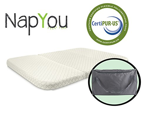 Fantastic Deal! NapYou Amazon Exclusive Pack n Play Mattress, Convenient Fold with Bonus Easy Handle...