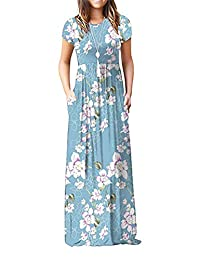 ZIOOER Women Printed Casual Loose Pocket Long Dress Short Sleeve Maxi Dresses