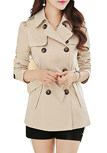 - Pandapang Women's Double-Breasted Elegant Slim Short Belt Trench Coats Beige L