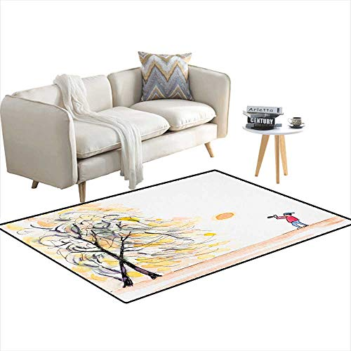(Extra Large Area Rug Watercolorecartoon Drawing of a Traveller Carrying Camera 40