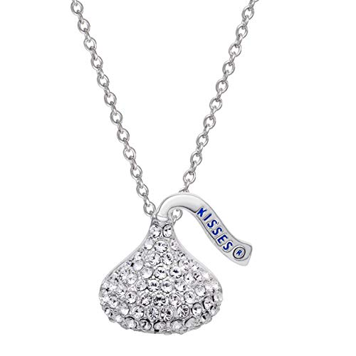 Hershey's Kisses Jewelry for Women and Girls, Silver Plated Crystal Kiss Charm Necklace ()
