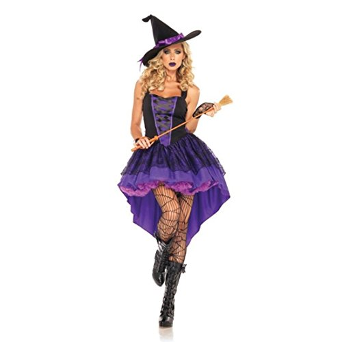JTENGYAO Women's Witch Plus Size Costume Purple Swallowtail Witch Halloween Costume With Hat