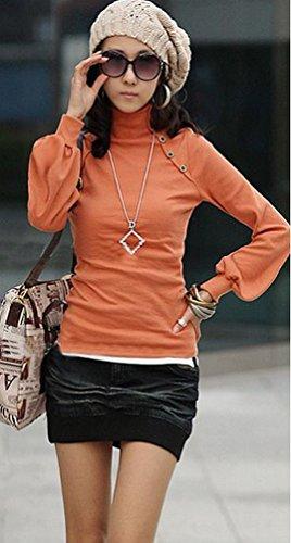 LATH.PIN - Blusa básica para mujer, manga larga, cuello alto naranja
