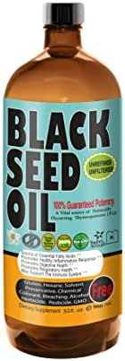 MILD Taste Black Seed Oil Liquid - 2.20%+ Thymoquinone Pungent Flavor Cold Pressed Source of Omega 3 6 9 Black Cumin Seed Oil from 100% Genuine Nigella Sativa - 32 oz Glass Bottle by Sweet Sunnah …