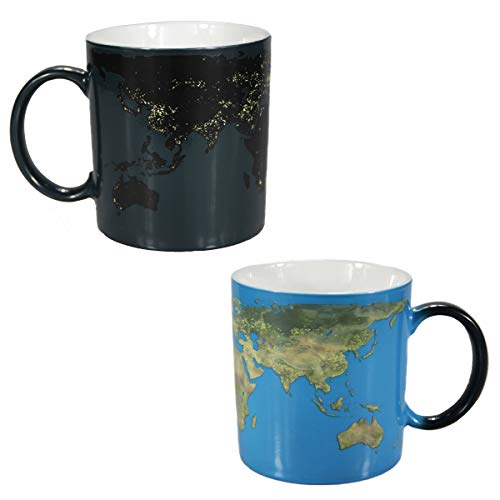 - Natural art - Heat Changing Coffee Mugs Day and Night Earth Map Heat Sensitive Ceramics Tea Cup