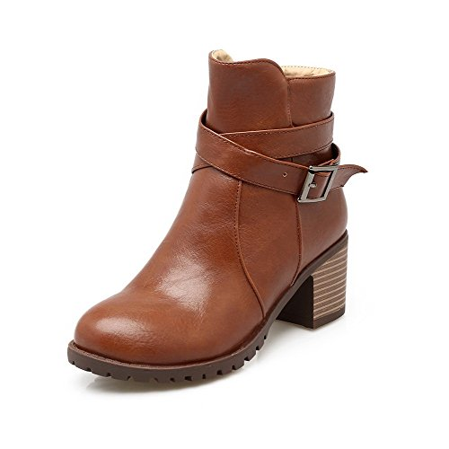 AgooLar Heels Women's Solid Brown Kitten PU Toe Zipper Round Boots rRrvq