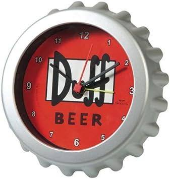 Los Simpson - Reloj despertador (diámetro: 8 cm), diseño chapa de cerveza Duff