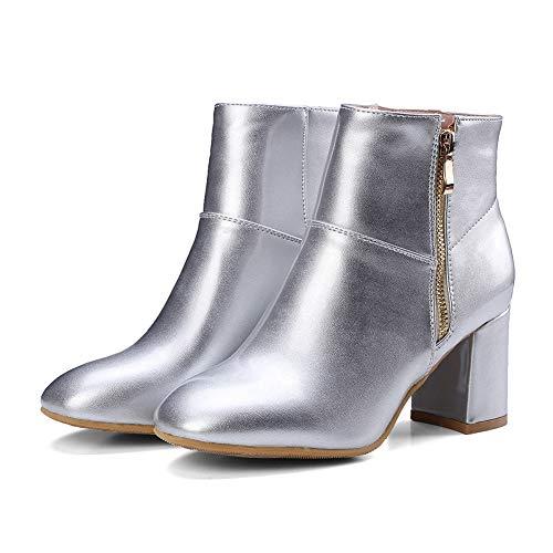 Para Y2y Sin Conforts De Con 7 Brillante Plataforma Zapatos Mujeres Carre Studio Fin Botines Barniz Boots Zip nbsp;cm Tobillo Plata Talones Bloque BwqB0ZA
